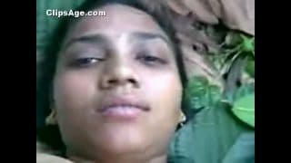 Indian desi village girl boobs squeezed and fucked outdoor jungle