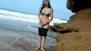 Indian sex xxx of desi couple honeymoon sex fucking at beach